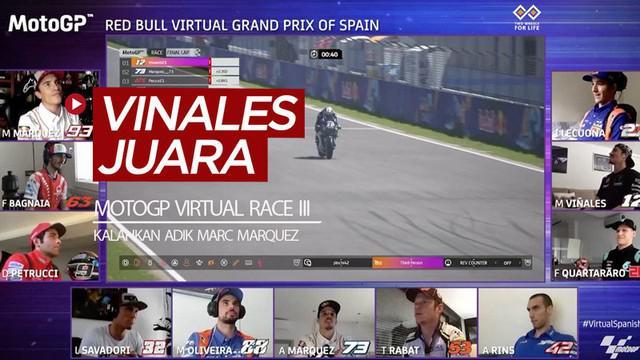 Berita video Maverick Vinales menjadi juara di MotoGP Virtual Race jilid III, di mana ia mengalahkan adik Marc Marquez, Alex, yang berada di posisi kedua.