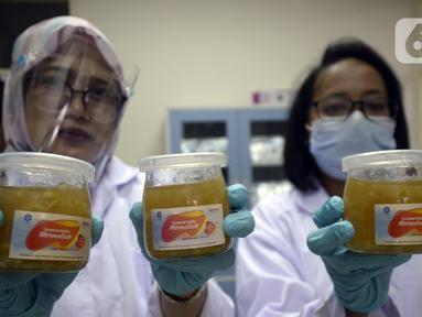 Peneliti LIPI menunjukkan selai jahe merah fermentasi di Puspitek Serpong, Tangerang Selatan, Banten, Senin (26/10/2020). Selai Marmalade yang terbuat dari fermentasi rempah-rempah lokal bisa meningkatkan daya tahan tubuh di tengah pandemi COVID-19. (merdeka.com/Dwi Narwoko)