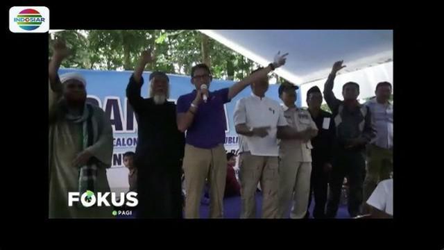 Sandiaga Uno berjanji jaga stabilitas pangan dan sediakan lapangan kerja di deklarasi mantan kepala desa di Bondowoso, Jawa Timur.
