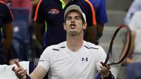 Ekspresi petenis Skotlandia, Andy Murray, saat bertanding melawan Kei Nishikori di babak perempat final AS Terbuka 2016, Rabu (7/9/2016) waktu setempat. (EPA/Justin Lane)