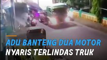 VIDEO: Adu Banteng Dua Motor, Nyaris Terlindas Truk Tangki