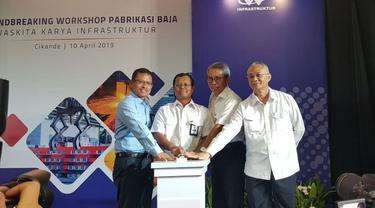 PT Waskita Karya Infrastruktur (WKI) melakukan groundbreaking workshop fabrikasi baja untuk memenuhi kebutuhan tower baja Proyek Transmisi 500KVA di Sumatera.