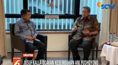 Dalam pertemuan ini, JK mendengarkan penjelasan SBY terkait kondisi kesehatan Ani Yudhoyono yang masih dirawat intensif akibat kanker darah.