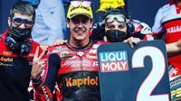 Pembalap Indonesian Racing Gresini, Jeremy Alcoba saat finis kedua balapan Moto2 Catalunya. (Indonesian Racing Gresini)
