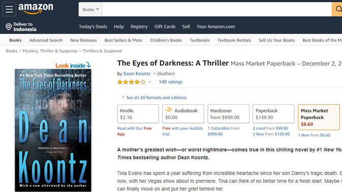 Cek Fakta: Novel The Eyes of Darkness Ramalkan Wabah Virus Corona 40 Tahun Lalu?  (Amazon)