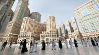6 Foto Ibadah Haji 2021 di Masa Pandemi Covid-19, Ketat Terapkan Protokol Kesehatan (sumber: Fayez Nureldine/AFP)