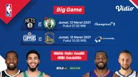 Duel Nets vs Celtics dan Clippers kontra Warriors, Jumat (12/3/2021) dapat disaksikan melalui platform streaming Vidio. (Dok. Vidio)