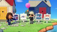 Permainan video ''Animal Crossing: New Horizons'' menampilkan poster kampanye Biden-Harris. (Joe Biden/DW)
