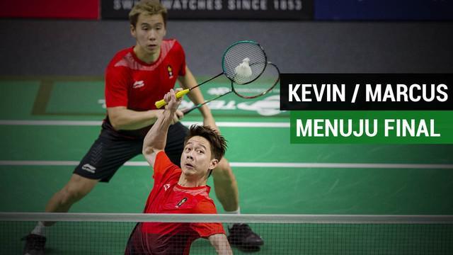 Kevin /Marcus, menang atas Lee Jhe Huei/Lee Yang, pada laga semifinal cabang bulutangkis Asian Games 2018 di Istora Senayan, Jakarta, Senin (27/8/2018).