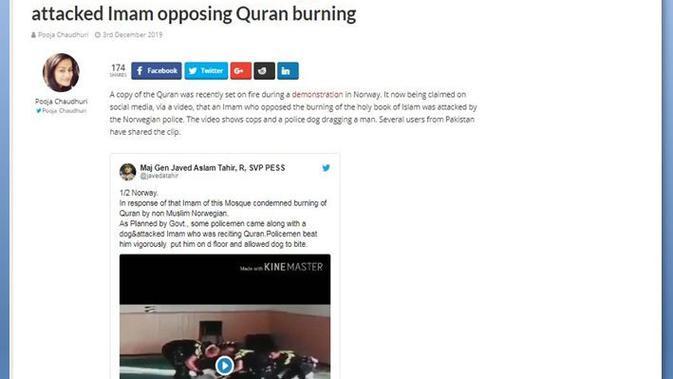 [Cek Fakta] Viral Video Imam Masjid di Norwegia Diserang Polisi dan Anjing, Ini Faktanya