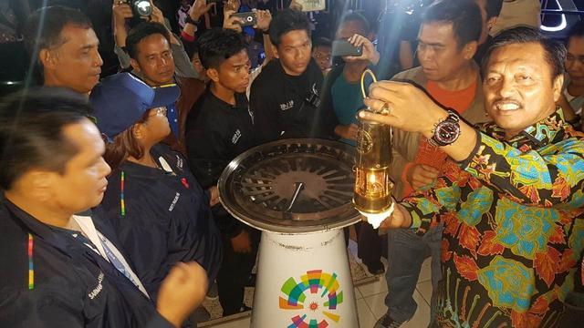 Api Asian Games 2018 saat tiba di rumah pesanggrahan Bung Karno, Parapat, Kabupaten Simalungun