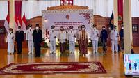 Gubernur DIY Sri Sultan HB X melantik Tiga pimpinan daerah Kabupaten Sleman, Bantul dan Gunungkidul. (Foto: Liputan6.com/istimewa)
