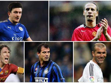 Pemain baru Manchester United, Harry Maguire, akan mewarisi nomor punggung lima milik legenda Setan Merah yaitu Rio Ferdinand. Berikut ini para pemain bernomor punggung lima terbaik sepanjang masa. (Foto Kolase AP dan AFP)