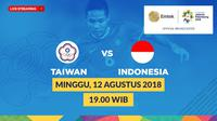 Jadwal Sepak Bola Asian Games 2018, China Taipei vs Indonesia. (Bola.com/Dody Iryawan)