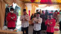 Bakal Pasangan Calon Wali Kota dan Wakil Wali Kota yang diusung PDIP di Pilkada Surabaya 2020, Eri Cahyadi dan Armuji. (Liputan6.com/Dian Kurniawan)