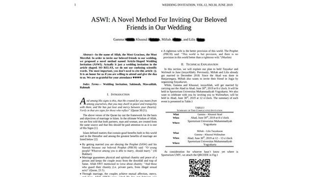 Desain Undangan Pernikahan Pasangan Ini Layaknya Jurnal Ilmiah