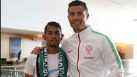 JUMPA - Impian Martunis untuk kembali berjumpa dengan ayah angkatnya, Cristiano Ronaldo, akhirnya tercapai. (Mundo Deportivo)