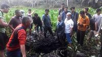 Lokasi penemuan jenazah mahasiswi Universitas Bengkulu yang berada di belakang kos-kosan. (liputan6.com/Yuliardi Hardjo)