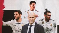 Zinedine Zidane, Alvaro Morata, Gareth Bale dan James Rodriguez. (Bola.com/Dody Iryawan)
