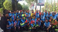 Tour d'Indonesia melibatkan 38 marshal untuk mengamankan pembalap dan menjamin lomba balap sepeda berjalan lancar (Liputan6.com/Adyaksa vidi)