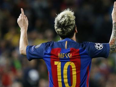 Lionel Messi memimpin klasemen sementara pencetak gol terbanyak Liga Champions 2017-2017 dengan enam gol. (AFP/Pau Barrena)