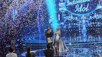 Setelah melewati serangkaian panjang, akhirnya kompetisi Indonesian Idol 2018 sampai pada puncaknya. Senin (23/4/2018) telah diumumkan satu nama yang lahir sebagai pemenang, yakni Maria Simorangkir. (Deki Prayoga/Bintang.com)