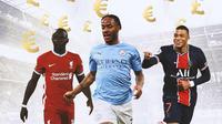 Ilustrasi - Euro dan Pounds, Sadio Mane, Raheem Sterling, Kylian Mbappe (Bola.com/Adreanus Titus)