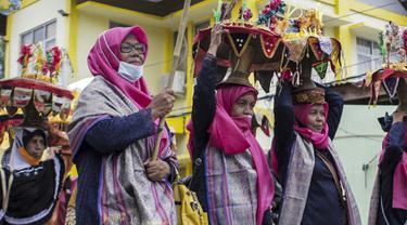 Prosesi Balimau di Sumatera Barat menyambut datangnya Ramadan. (AFP)