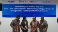 Kiri-Kanan: Direktur Consumer Banking BTN Budi Satria, Direktur Utama Peruri Dwina Septiani Wijaya,Direktur Utama BPJS Ketenagakerjaan Agus Susanto, dan Direktur Investasi BPJS Ketenagakerjaan Amran Nasution.