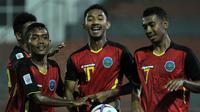 Penyerang Timnas Timor Leste, Henrique (nomor 10). (Bola.com/Dok. AFF Suzuki Cup)