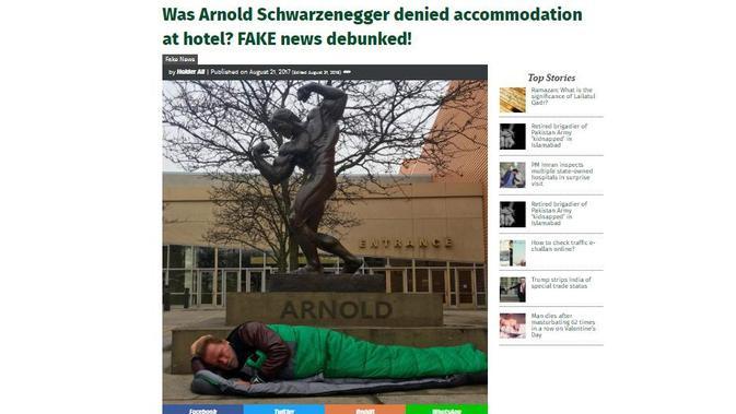 [Cek Fakta] Benarkah Arnold Schwarzenegger Ditolak Hotel di California?