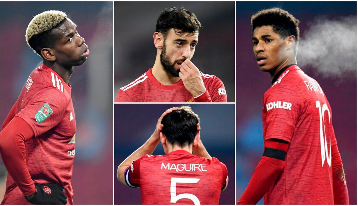 Para pemain Manchester United tak mampu menutupi kekecewaan usai disingkirkan Manchester City dari Piala Liga Inggris. Berikut ragam reaksi para pemain Setan Merah.
