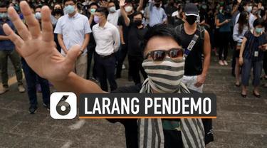 Pemimpin Hong Kong Carrie Lam berlakukan aturan baru yakni larangan penggunaan penutup wajah bagi para demonstran.