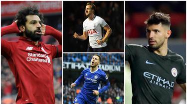 Berikut ini daftar top scorer sementara Premier League 2019. Sergio Aguero dan Mohamed Salah sama-sama di posisi teratas dengan koleksi 19 gol. (Foto-foto Kolase AP dan AFP)