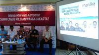Lembaga survei Manilka prediksi kemenangan paslon Gubernur dan Wakil Gubernur DKI Jakarta Agus-Sylvi. (Liputan6.com/ Muslim AR)