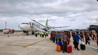 Bandara Banyuwangi secara resmi telah melayani rute internasional dari Kuala Lumpur menuju kabupaten ujung timur Pulau Jawa tersebut. (Liputan6.com/ Dian Kurniawan)
