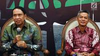 Anggota Fraksi MPR Partai Golkar yang juga Ketua Komisi II DPR RI, Zainudin Amali bersama Komisioner KPU RI, Wahyu Setiawan menjadi pembicara diskusi 4 Pillar MPR RI di Kompleks Parlemen Senayan, Jakarta, Senin (27/8).(Liputan6.com/JohanTallo)