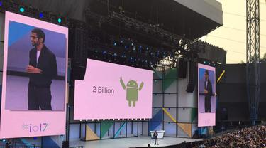 CEO Google Sundar Pichai membuka sesi keynote Google I/0 2017. Liputan6.com/Jeko Iqbal Reza