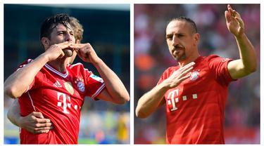Bayern Munchen adalah klub tersukses sepanjang sejarah Liga Jerman. Perpaduan pemain muda dan tua di tiap musim berjalan solid. Berikut 5 pemain tua yang berpengaruh dan mampu mencetak gol di semua ajang kompetisi untuk Die Roten sepanjang sejarah. (Kolase Foto AFP)