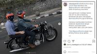 Ridwan Kamil membonceng AHY dengan motor klasik (Instagram @ridwankamil)