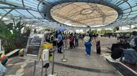 Sempat terjadi antrian, suasana pos kesehatan untuk tes rapid antigen dan PCR tes, sudah terurai di Bandara Internasional Soekarno Hatta (Soetta).