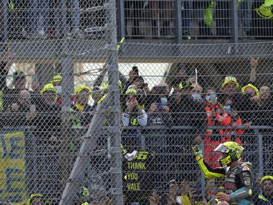 Valentino Rossi menyelesaikan MotoGP Emilia Romagna 2021 di sirkuit Misano sebagai balapan terakhir yang dianggap sebagai 'rumah' oleh The Doctor. (AP Photo/Antonio Calanni)