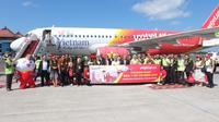 Vietjet Air mendarat di Bandar Udara Internasional I Gusti Ngurah Rai, Denpsar, Bali.