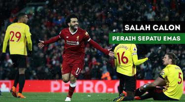 Raihan 28 gol Mohamed Salah membuat dirinya melewati Lionel Messi dengan 25 gol dalam daftar peraih sepatu emas.
