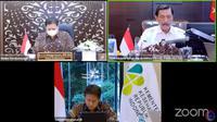 3 Menteri yakni Menko Kemaritiman dan Investasi Luhut Binsar Pandjaitan, Menko Perekonomian Airlangga Hartarto dan Menkes Budi Gunadi Sadikin melakukan Konferensi Pers Perkembangan PPKM pada Senin (20/9/2021).