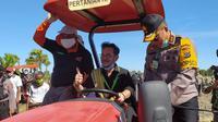 Menteri Pertanian Syahrul Yasin Limpo mengunjungi Kabupaten Kupang Nusa Tenggara Timur (NTT) untuk meninjau pertanaman jagung. (Dok Kementan)