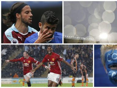 Foto terbaik Premier League pekan ketiga diwarnai aksi selebrasi striker Manchester United, Marcus Rashford dan juga tangan dari pemain Burnley, George Boyd, yang menusuk wajah bomber Chelsea, Diego Cosat. (Reuters)