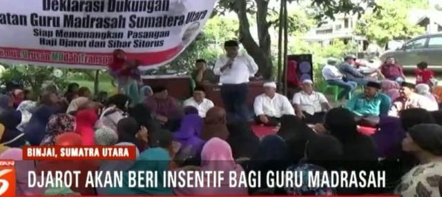 Djarot Saiful Hidayat berjanji akan meningkatkan penghasilan para guru dengan memberi insentif dan Kartu Sumut Sejahtera.