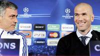 Pelatih Real Madrid Jose Mourinho (kiri) dan legenda Madrid Zinedine Zidane di sesi konferensi pers jelang laga leg pertama babak 16 besar Liga Champions melawan Olympique Lyonnais, 21 Februari 2011. AFP PHOTO / PHILIPPE DESMAZES