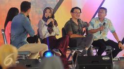 Pemain PPT, Agus Kuncoro, Jarwo Kwat dan Artta Ivano saat mengikuti acara EGTC 2016  di Yogyakarta, Kamis (3/11). EGTC 2016 diramaikan oleh tokoh dan artis untuk memperkenalkan cara berakting di sebuah film. (Liputan6.com/Helmi Affandi)